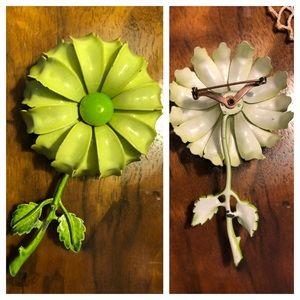 Large Retro Green Enamel Flower Pin
